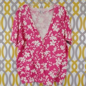 D&CO New Floral Print Pink Cardigan Sweater XL